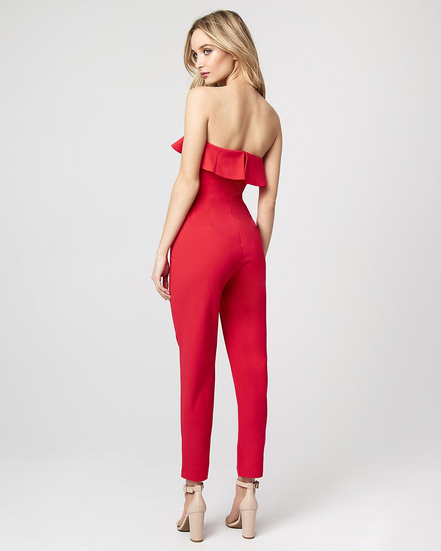 c71920a7ae ... Gabardine Sweetheart Ruffle Jumpsuit - Lyst. View fullscreen