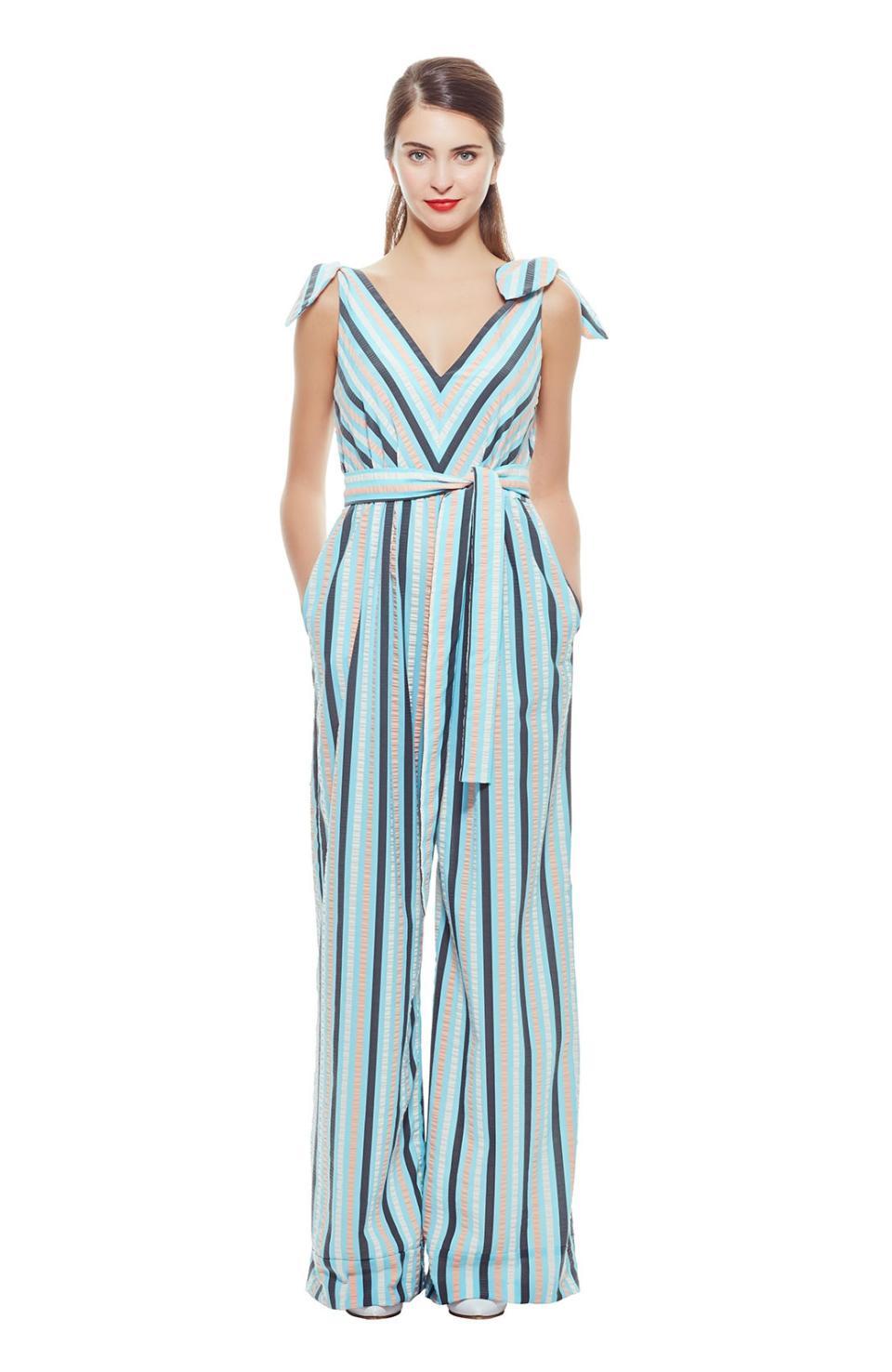 9d9edbceee8 Lyst - Lela Rose Seersucker Stripe Bow Tie Jumpsuit in Blue