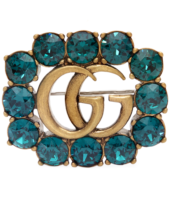 Esmaltado Doble G Broche - Gucci Metálico 3457wK