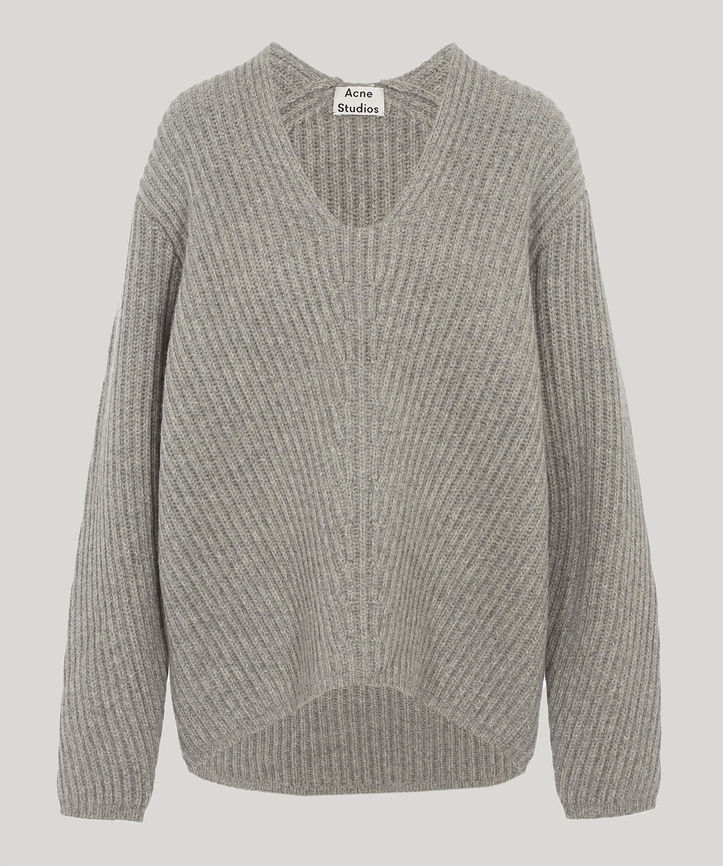 Lyst - Acne Studios Deborah Wool Long Sleeve Ribbed Jumper in Gray f8214de09