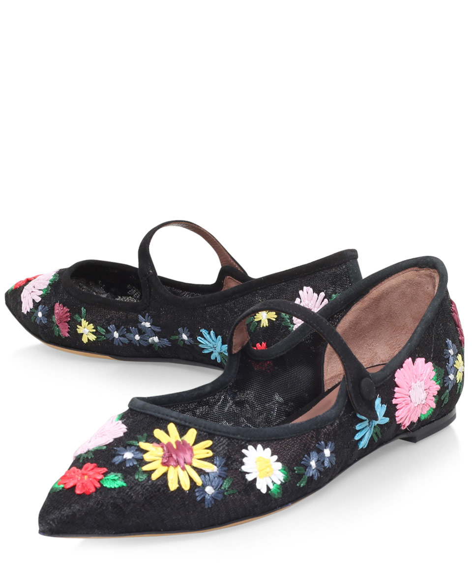 Tabitha Simmons Black Floral Raffia Hermione Flats In