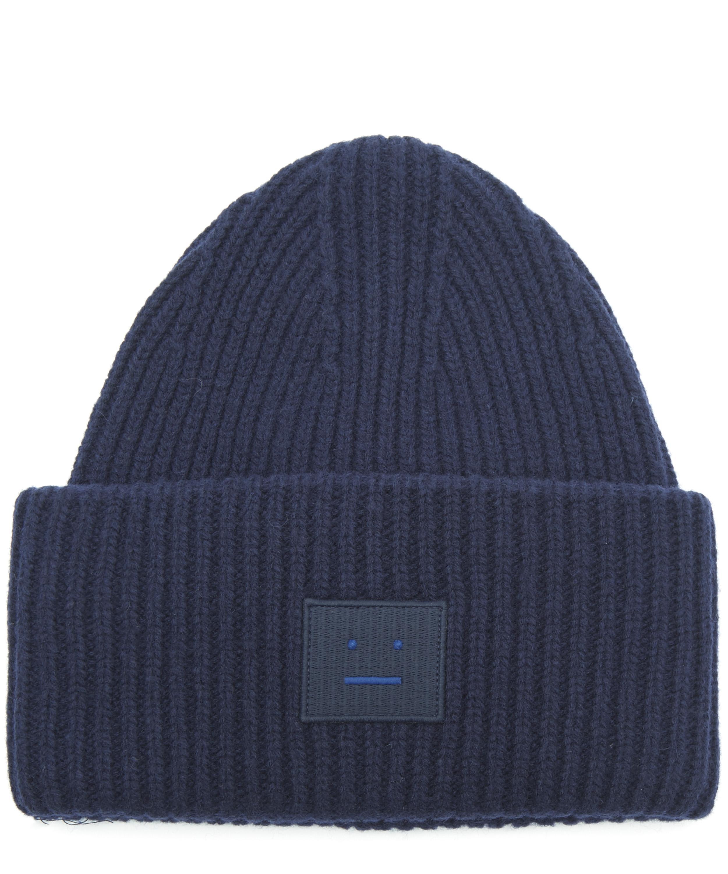 b31ad55ddee Lyst - Acne Studios Pansy Face Wool Beanie Hat in Blue for Men