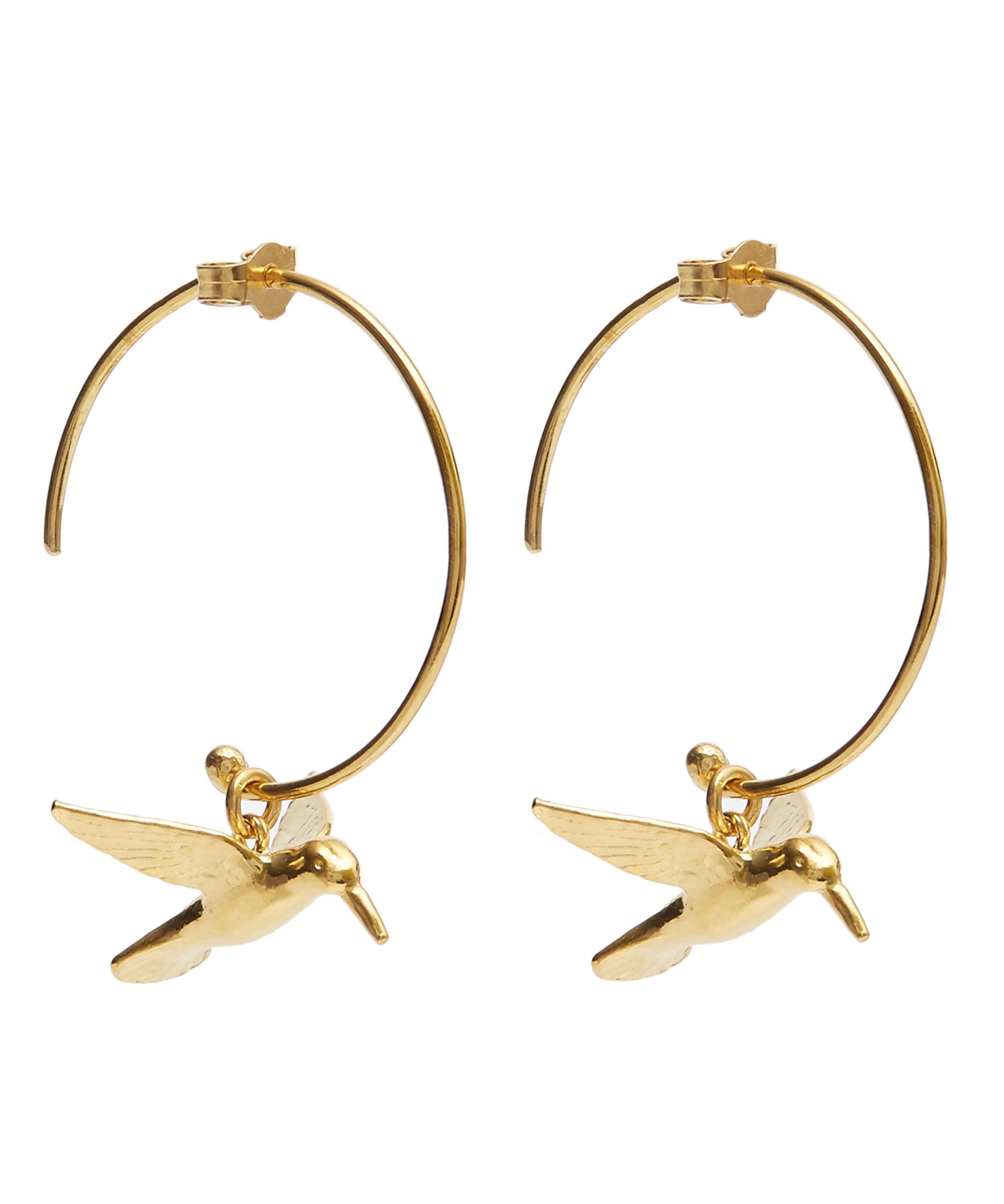 Alex Monroe Women S Metallic Gold Plated Hummingbird Hoop Earrings