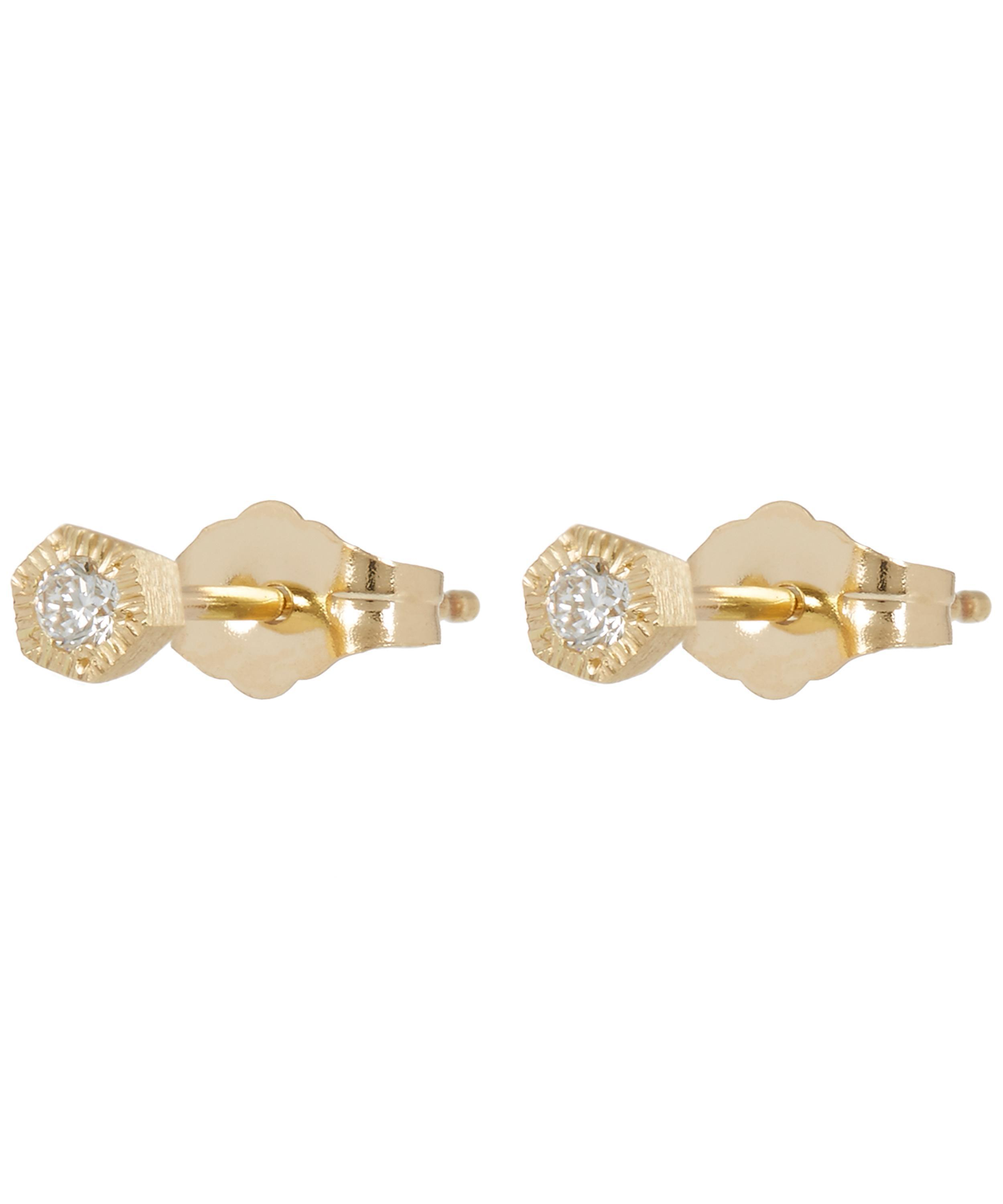 yellow earrings stud gold l baby diamond and