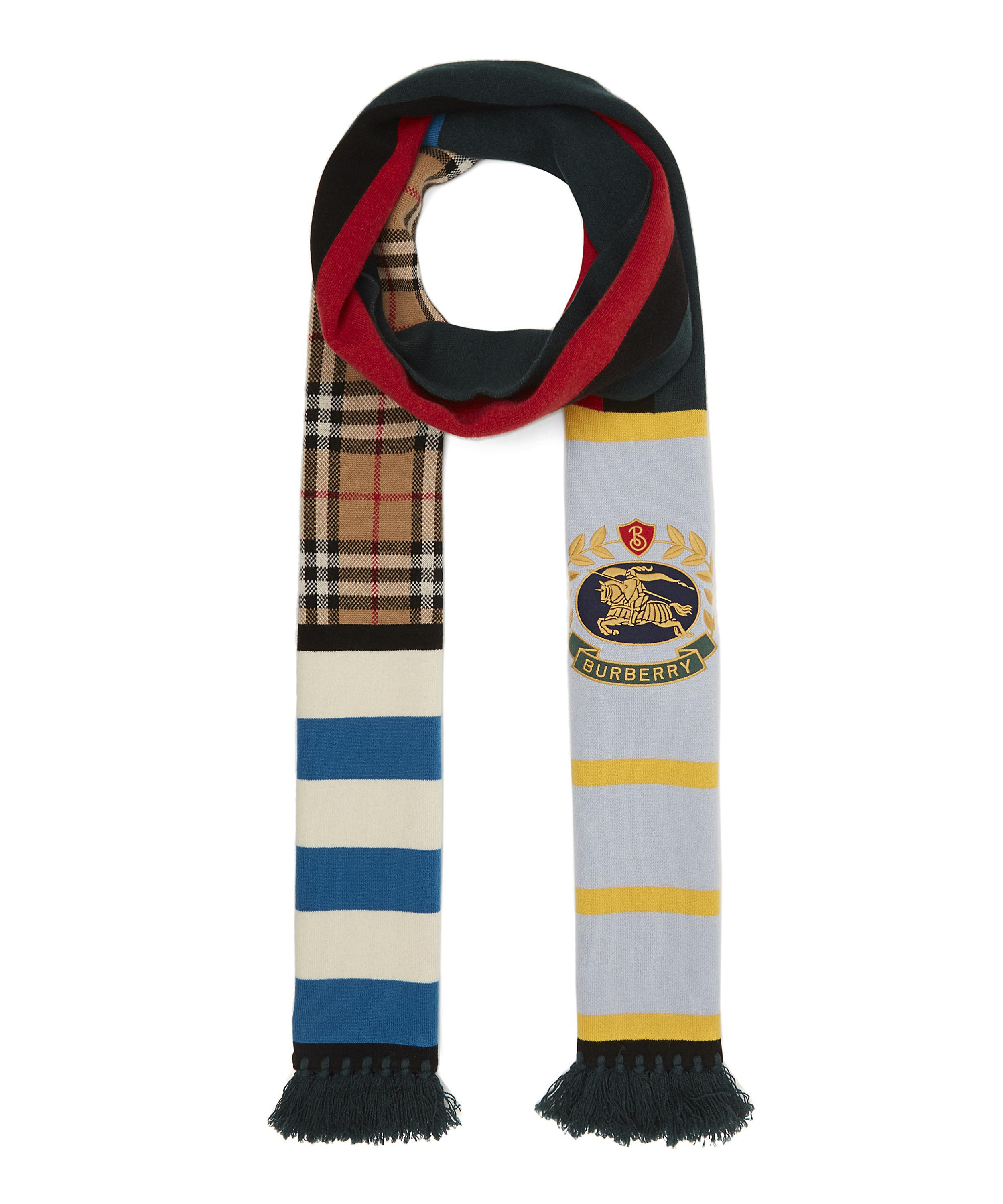 7677197f95 Lyst - Burberry Vintage Football Crest Cashmere Knit Scarf for Men