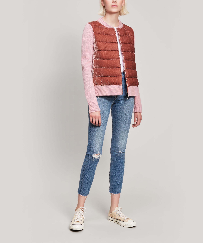 bf976e430 Lyst - Moncler Knitted Velvet Jacket in Pink