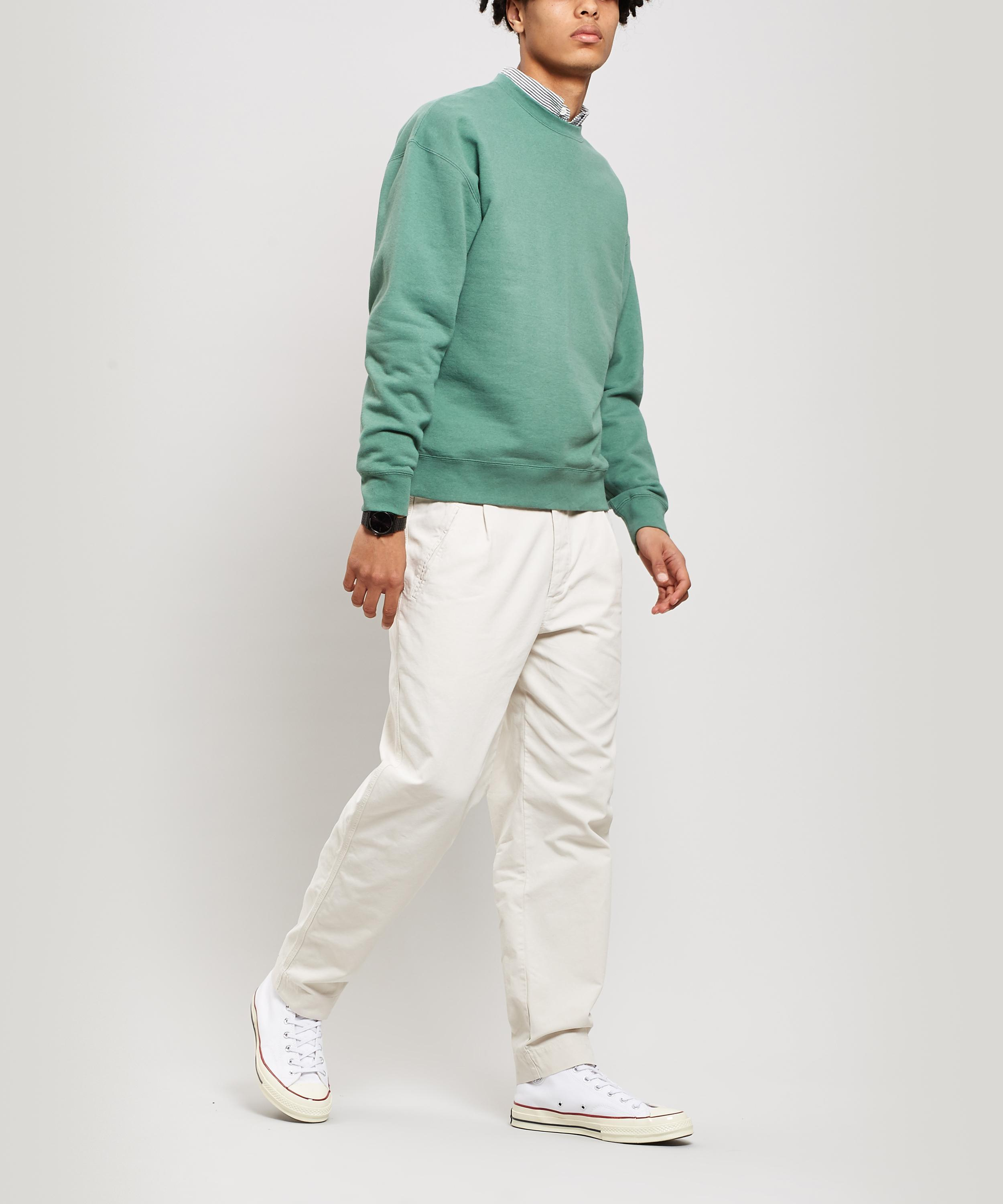 Beams Plus Crew-neck Cotton Sweater in Green for Men - Lyst