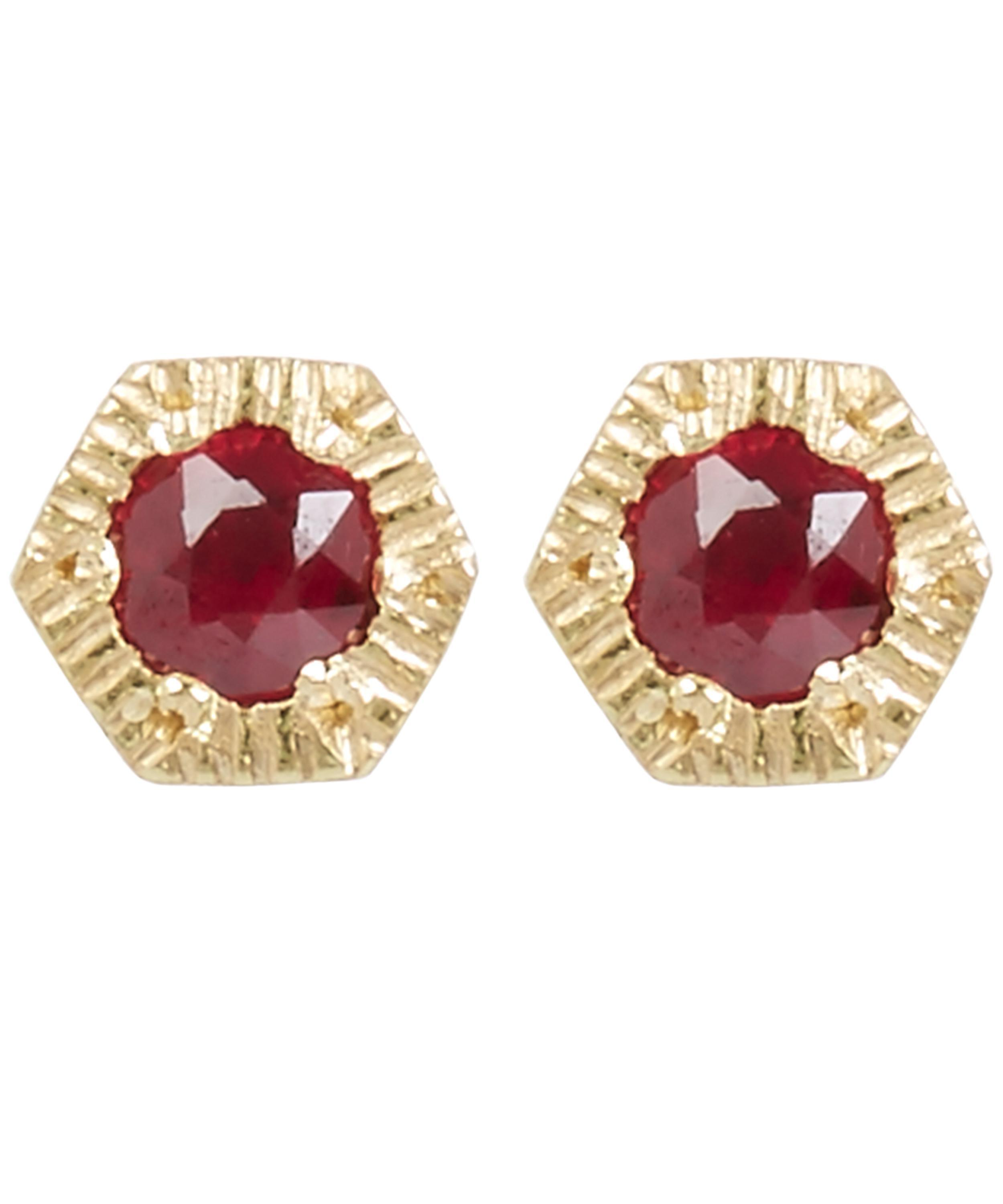 diamond earrings red stud gold square l ruby
