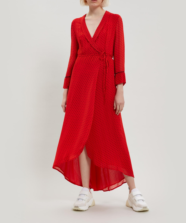 a9b5961a Ganni Mullen Georgette Wrap-dress in Red - Lyst