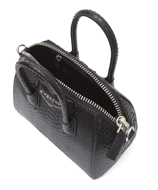 Lyst - Givenchy Mini Antigona Python Cross Body Bag in Black 8ec1dad614e5c