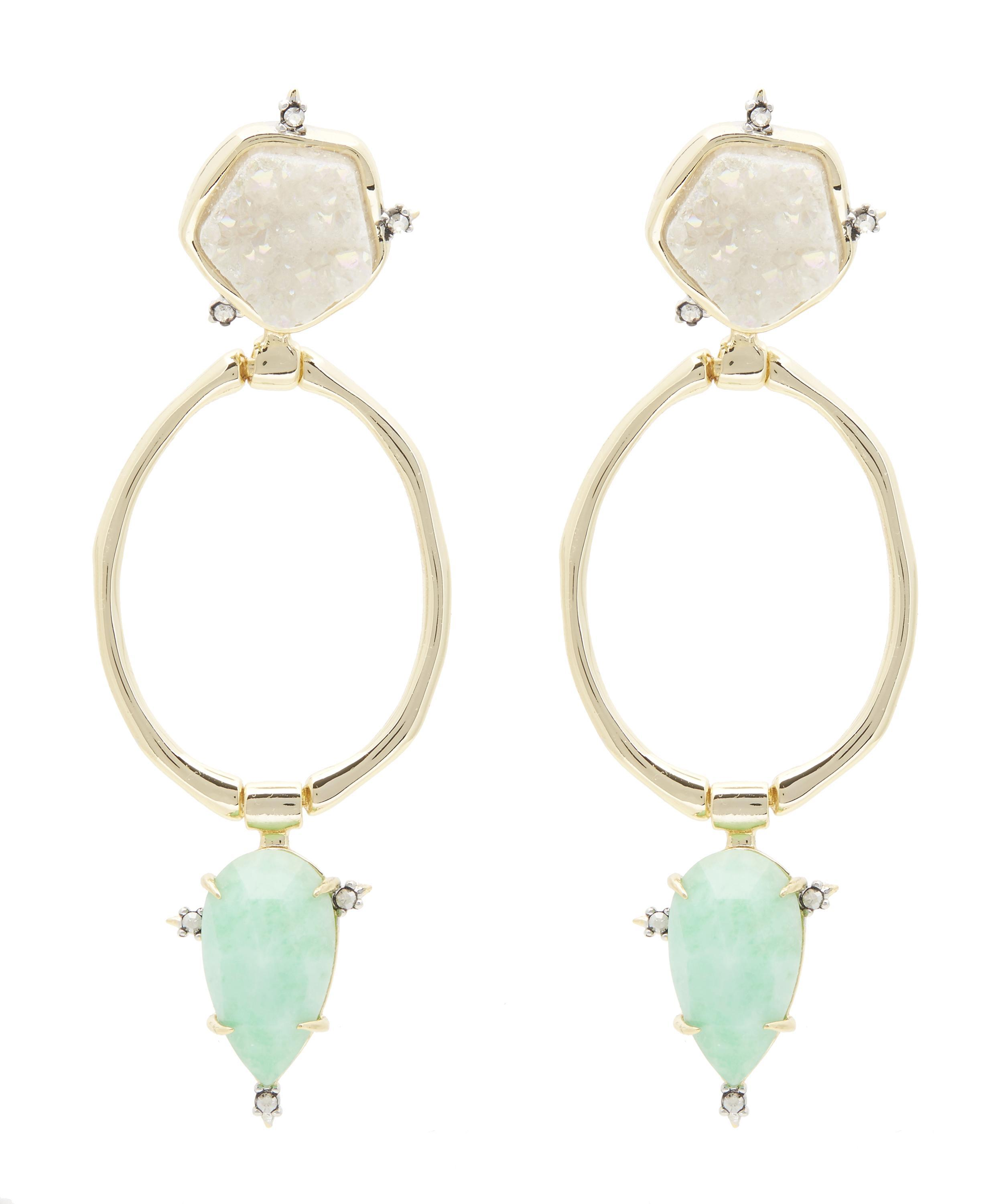 Alexis Bittar Druzy And Long Leather Tassel Clip Earring 4ZSDQP