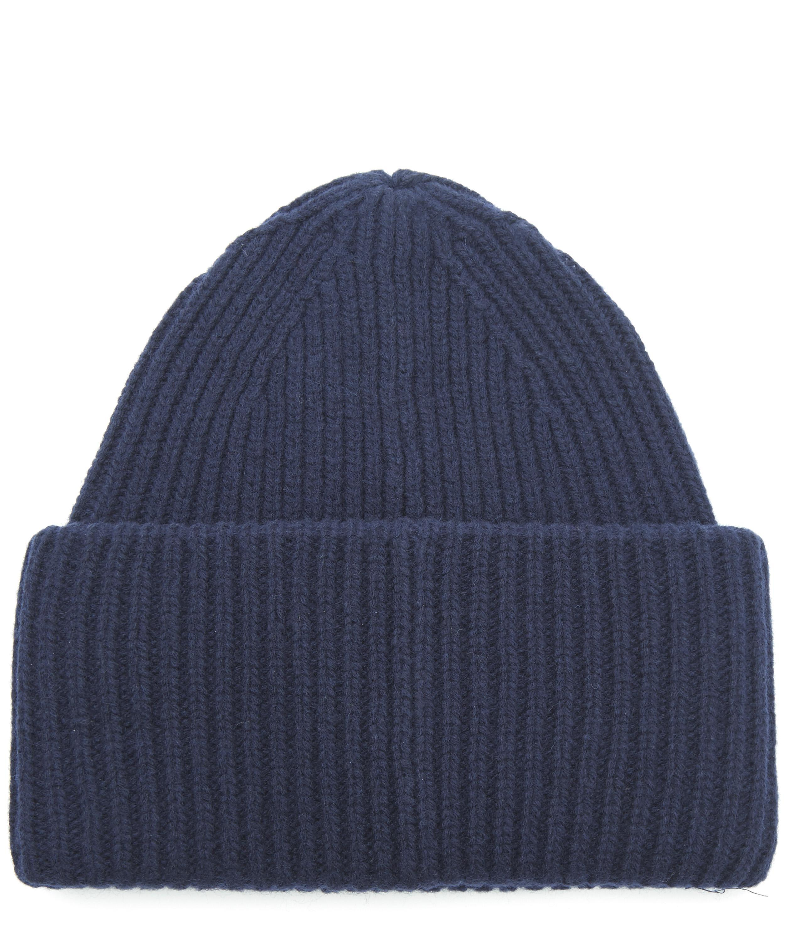 a64727e6780 Acne Studios Pansy Face Wool Beanie Hat in Blue for Men - Lyst
