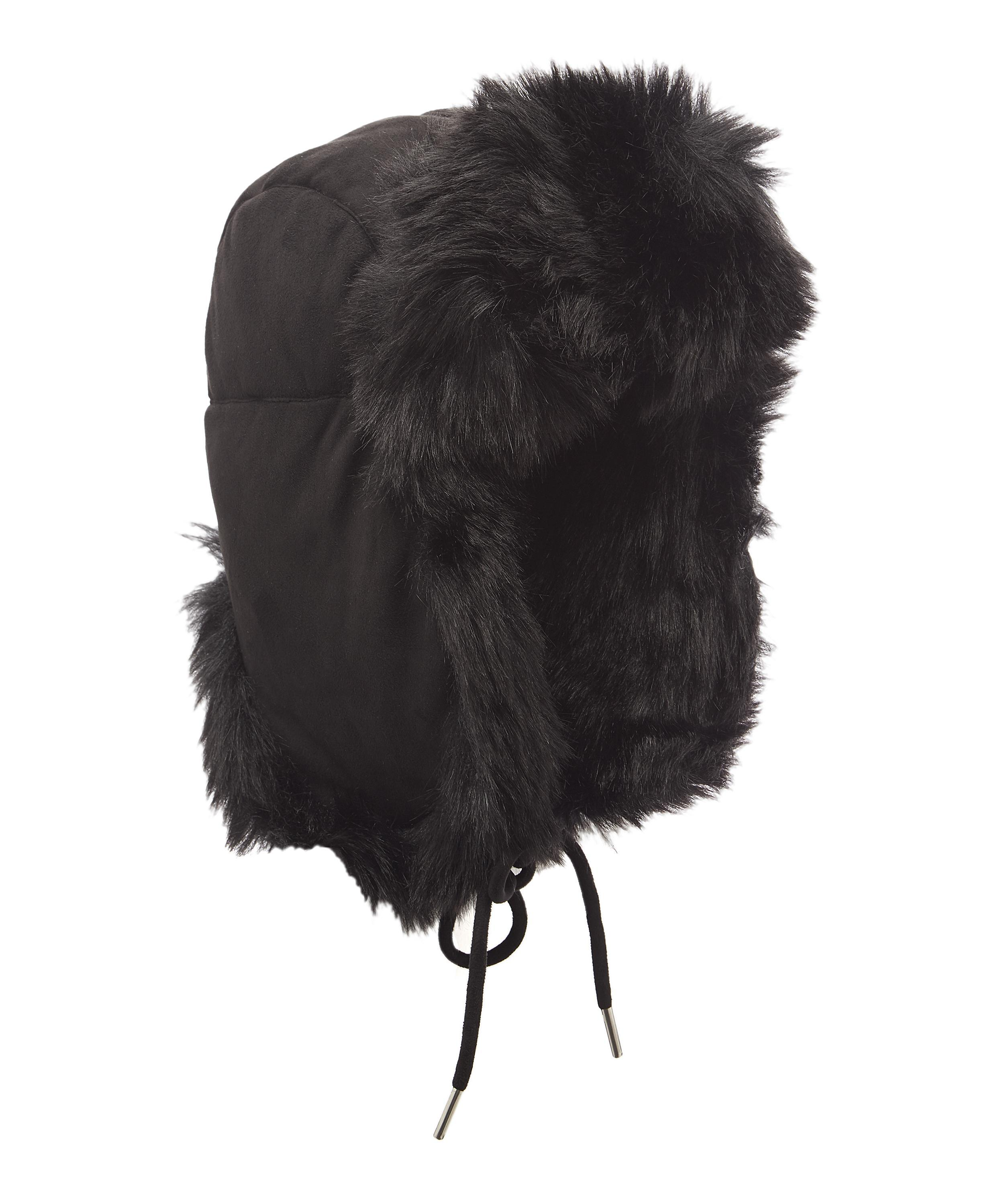 7907ba9d23894 Charlotte Simone Helmet Head Faux Fur And Suede Trapper Hat in Black ...