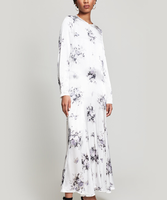 e5478fb4 Ganni Cameron Floral Midi Dress in White - Lyst