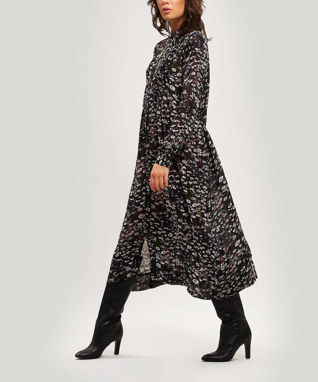 0e3c688b Ganni Floral Georgette Pleated Dress in Black - Lyst