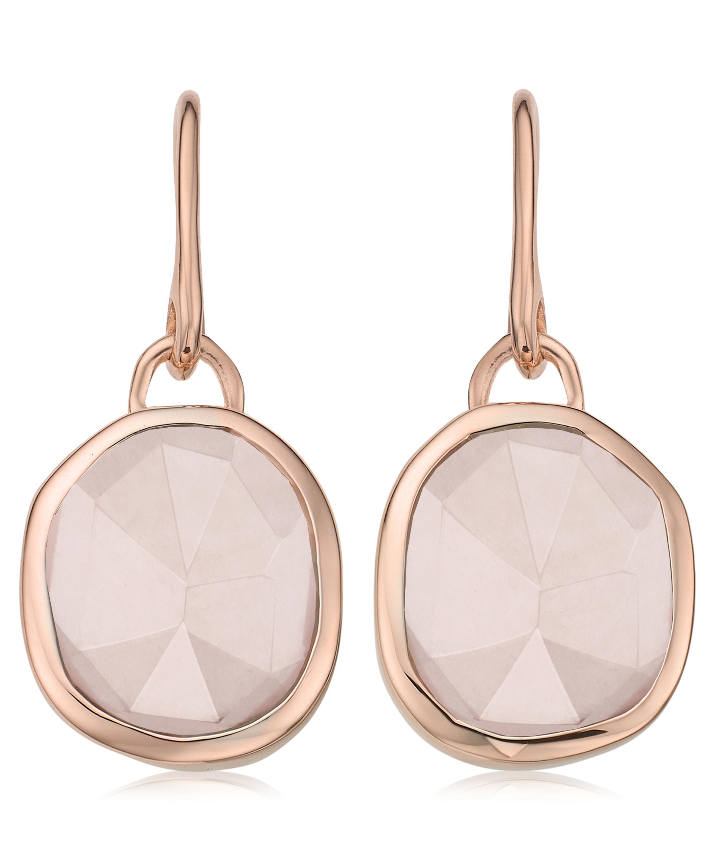 Sterling Silver Siren Wire Earrings Pink Quartz Monica Vinader u4RkHeZPUo