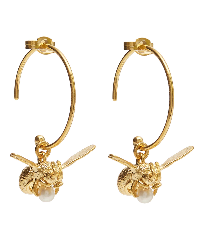 Alex Monroe Women S Metallic Gold Plated Flying Bee Pearl Hoop Earrings