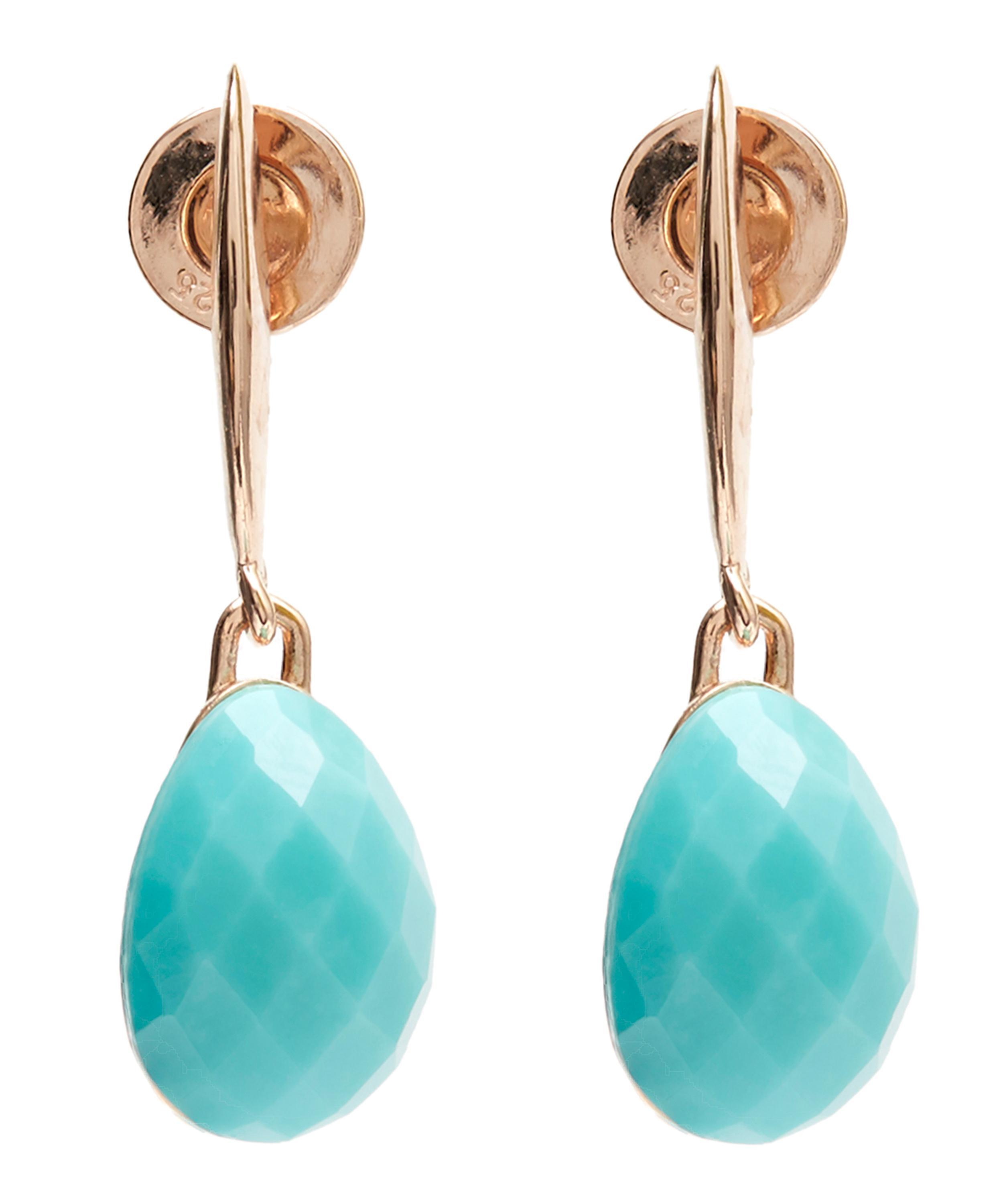 Nura Nugget Rose Gold Vermeil Turquoise Earrings - one size Monica Vinader DHV3nQ0me