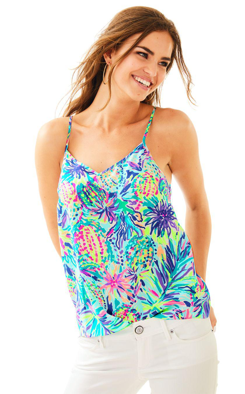 314d4b1141ce89 Lyst - Lilly Pulitzer Dusk Racer Back Silk Tank Top in Blue