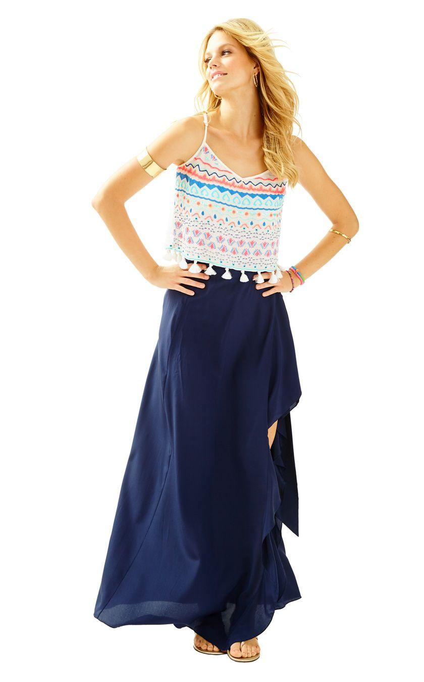 f5d64e9cd Lilly Pulitzer Berdine Silk Wrap Maxi Skirt in Blue - Lyst