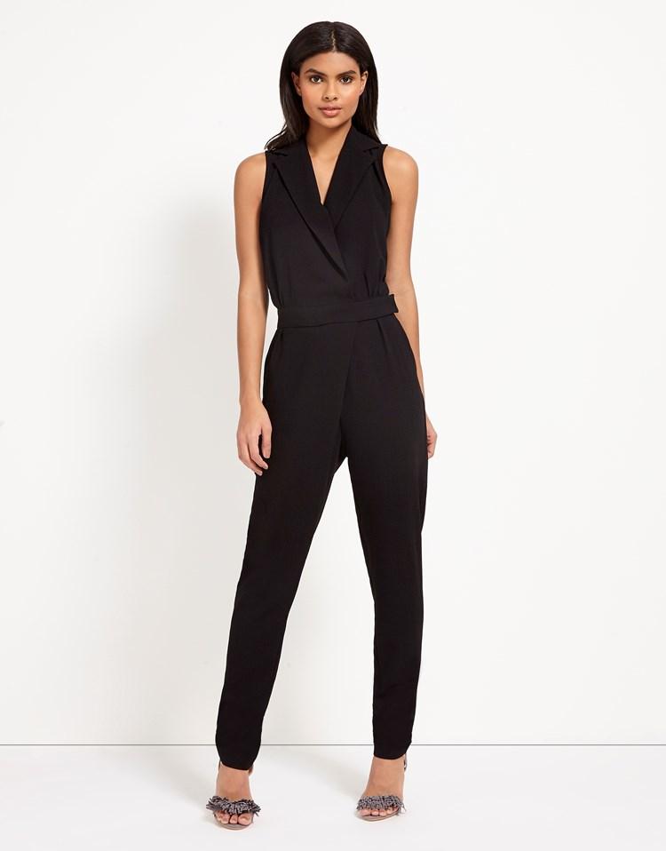 vero moda wrap front jumpsuit in black lyst. Black Bedroom Furniture Sets. Home Design Ideas