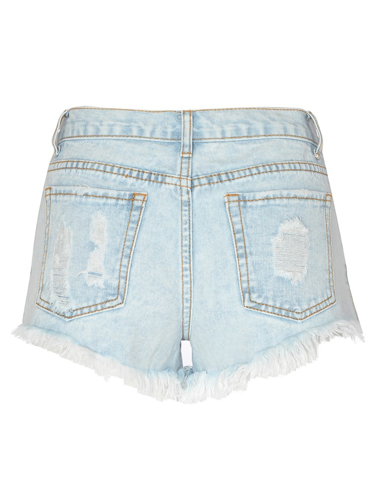 Glamorous embroidered denim shorts in blue lyst