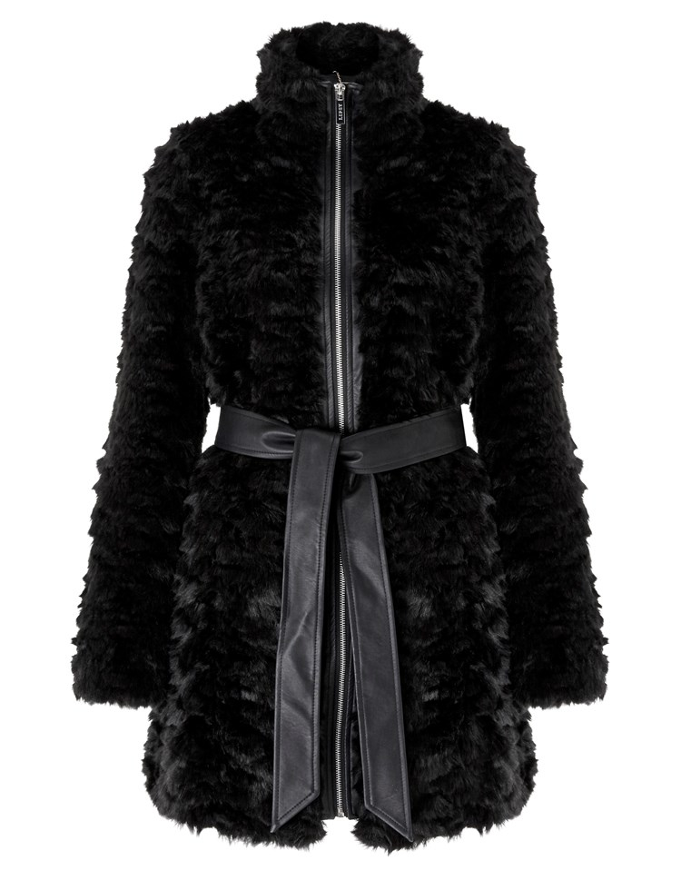 Lipsy Fur Collar With Belt Coat In Black Lyst