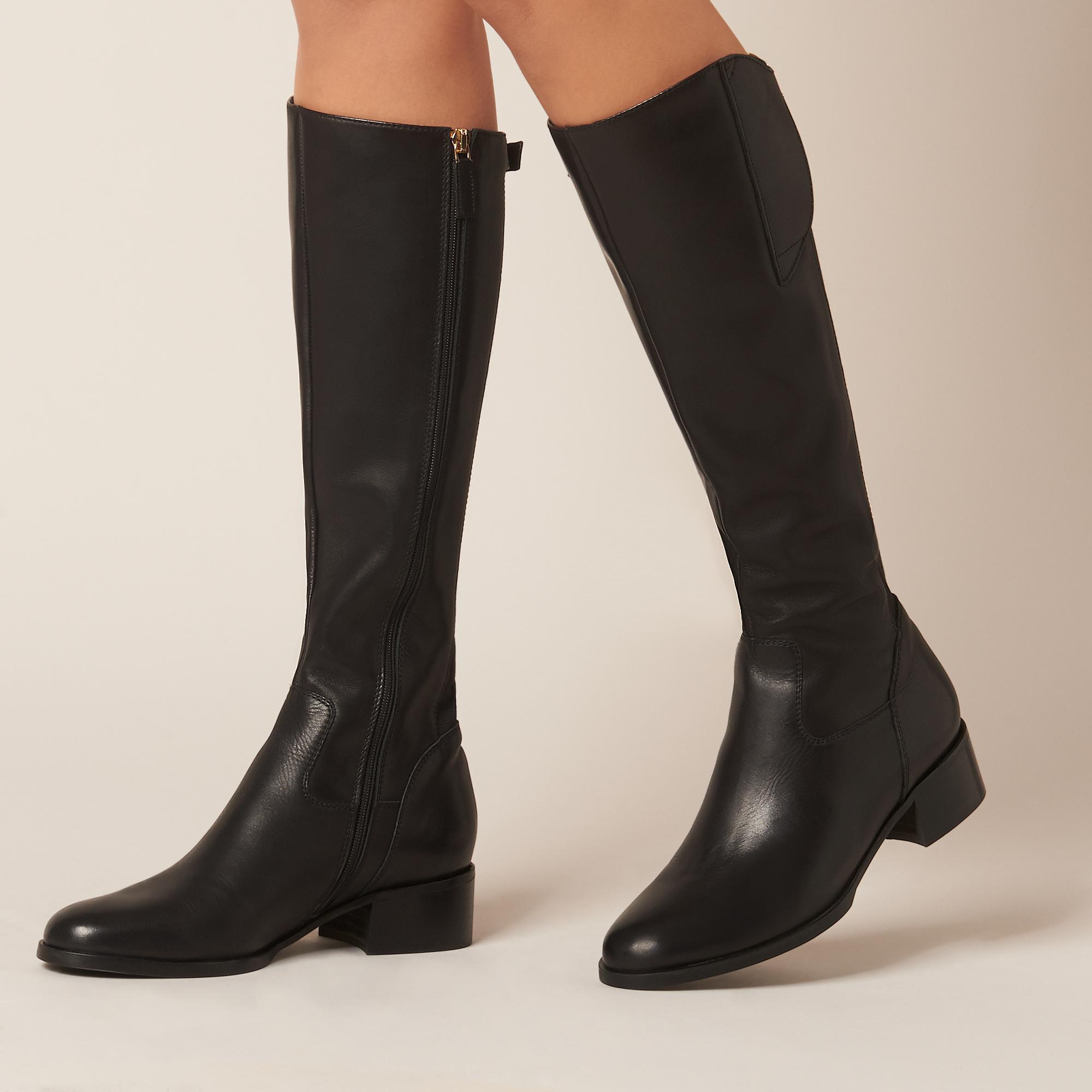 10714bcffa8 L.K.Bennett Tala Black Leather Knee Boots in Black - Lyst