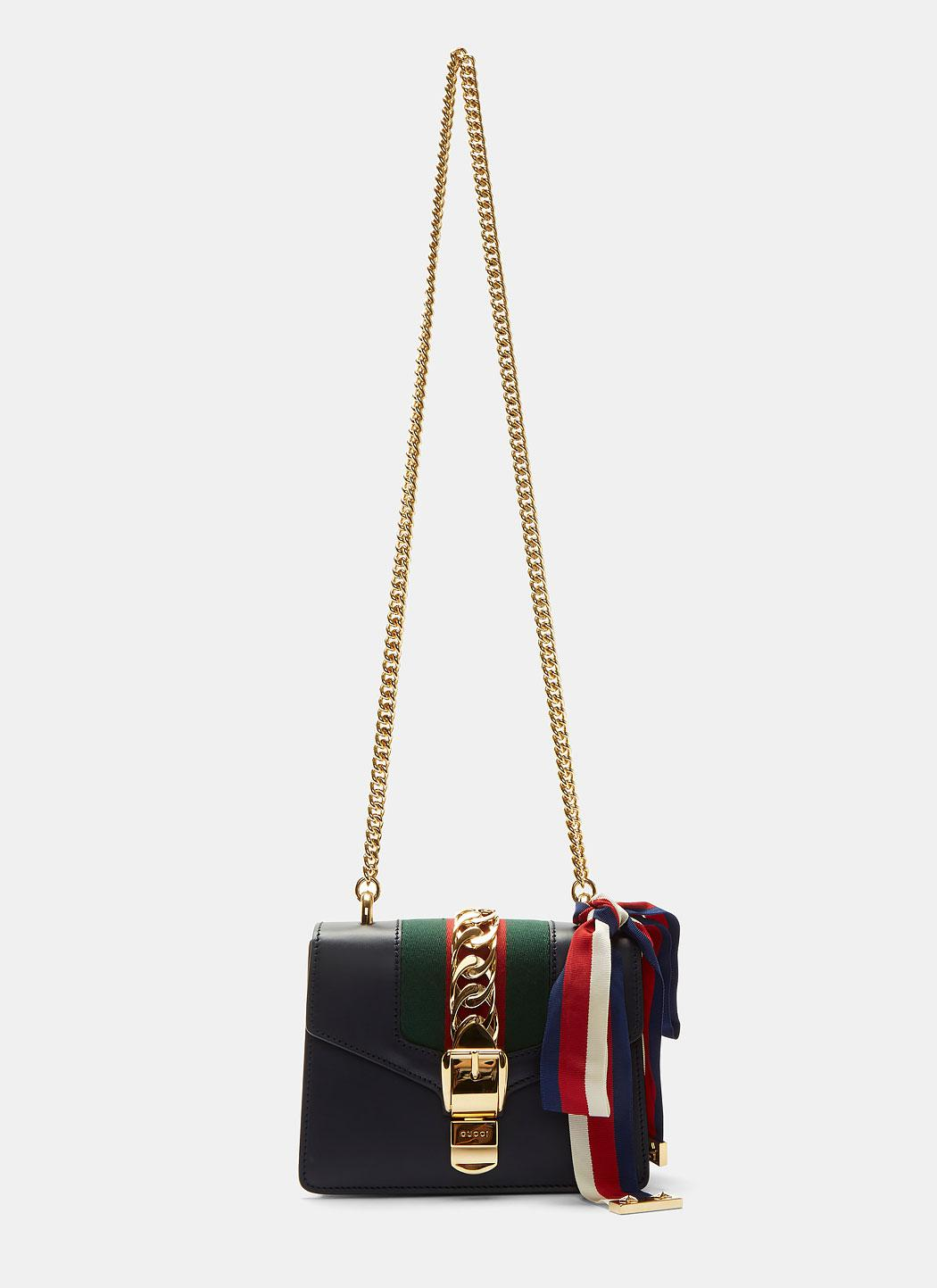 8f3fc6b5abce9f Gucci Sylvie Chain Mini Shoulder Bag In Navy in Blue - Lyst