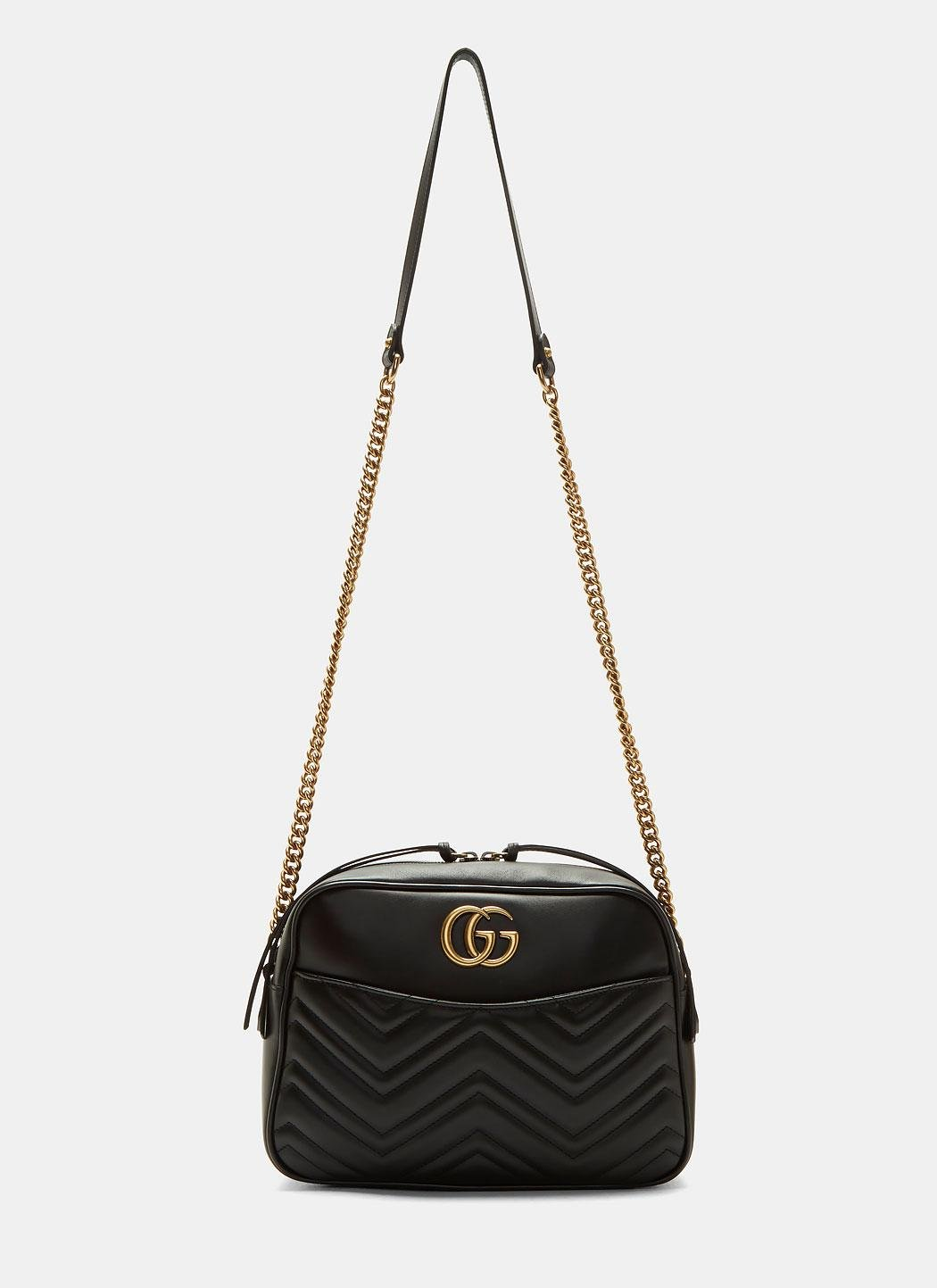 b92574449f05 Gucci Gg Marmont Matelassé Small Shoulder Bag In Black in Black - Lyst