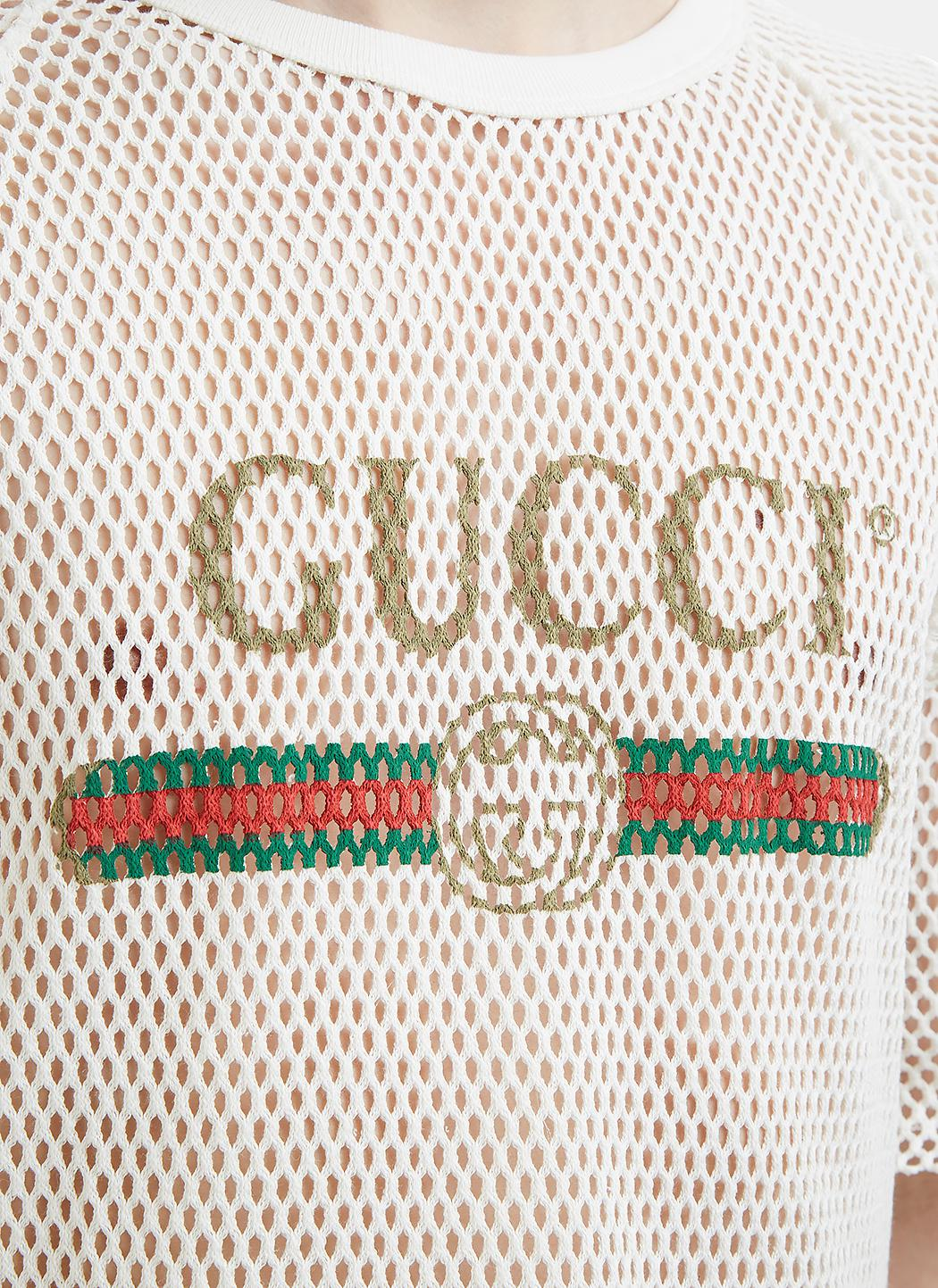 acb66fa6d Gucci Fake Logo Mesh T-shirt In White in White for Men - Lyst