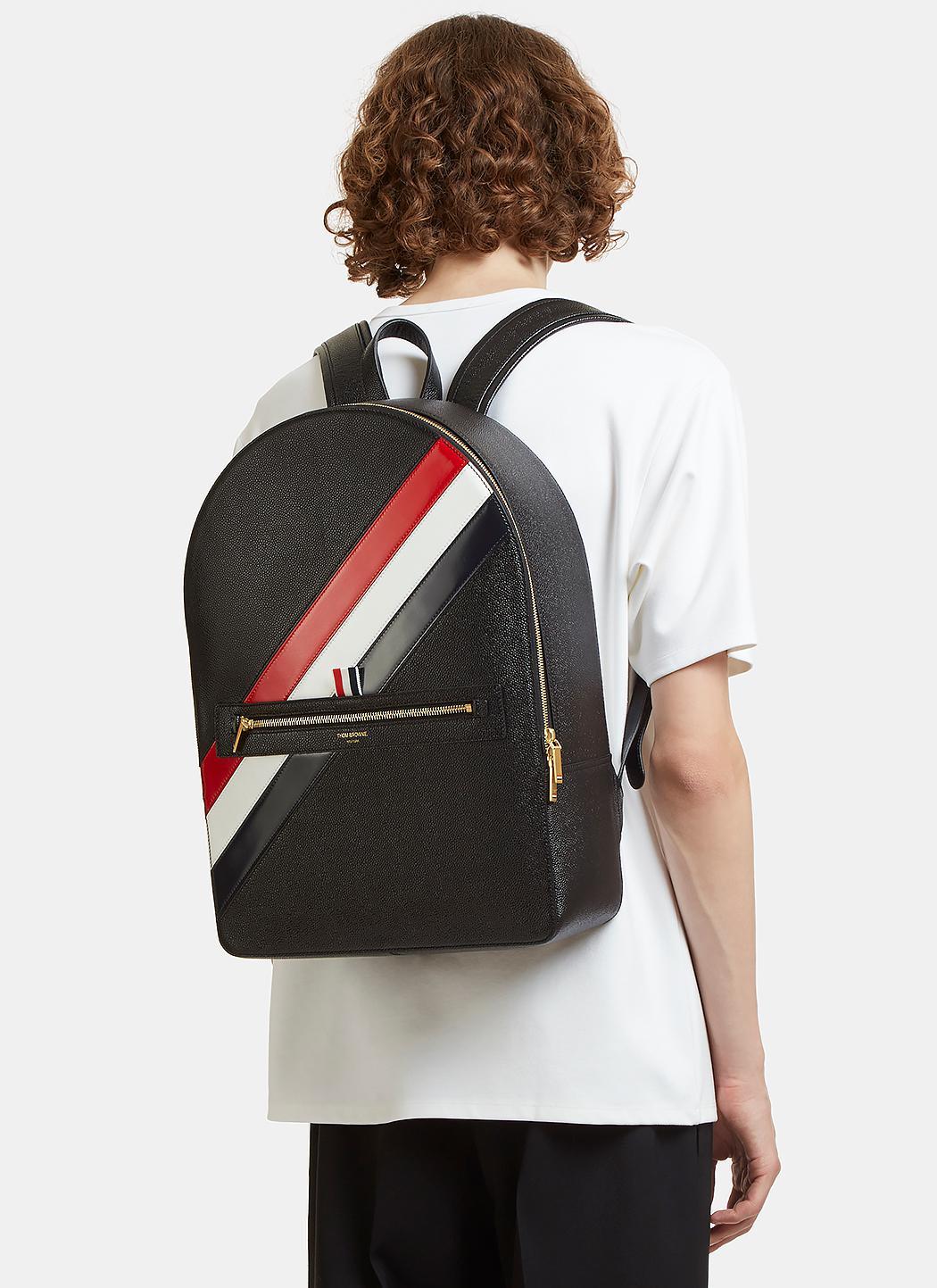 78378238c7 Lyst - Thom Browne Diagonal Striped Pebble Grained Backpack In Black ...