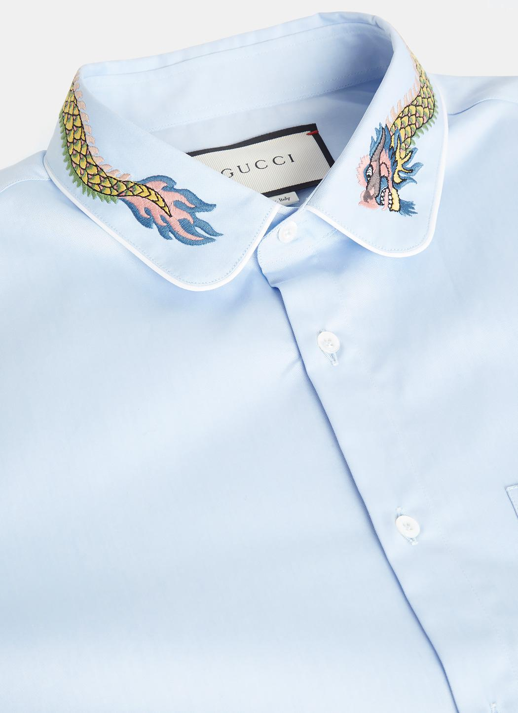 eaef1db48 Gucci Dragon Embroidered Duke Shirt In Blue in Blue for Men - Lyst