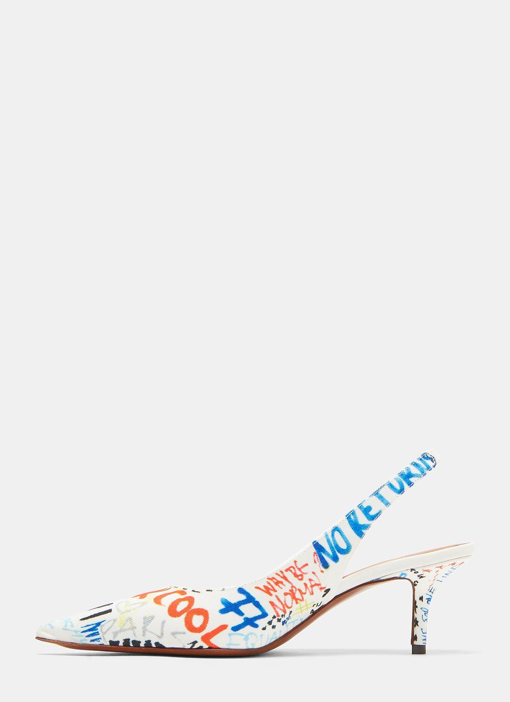 66f9cf30410 Lyst - Vetements Graffiti Print Sling Back Heels In White in White
