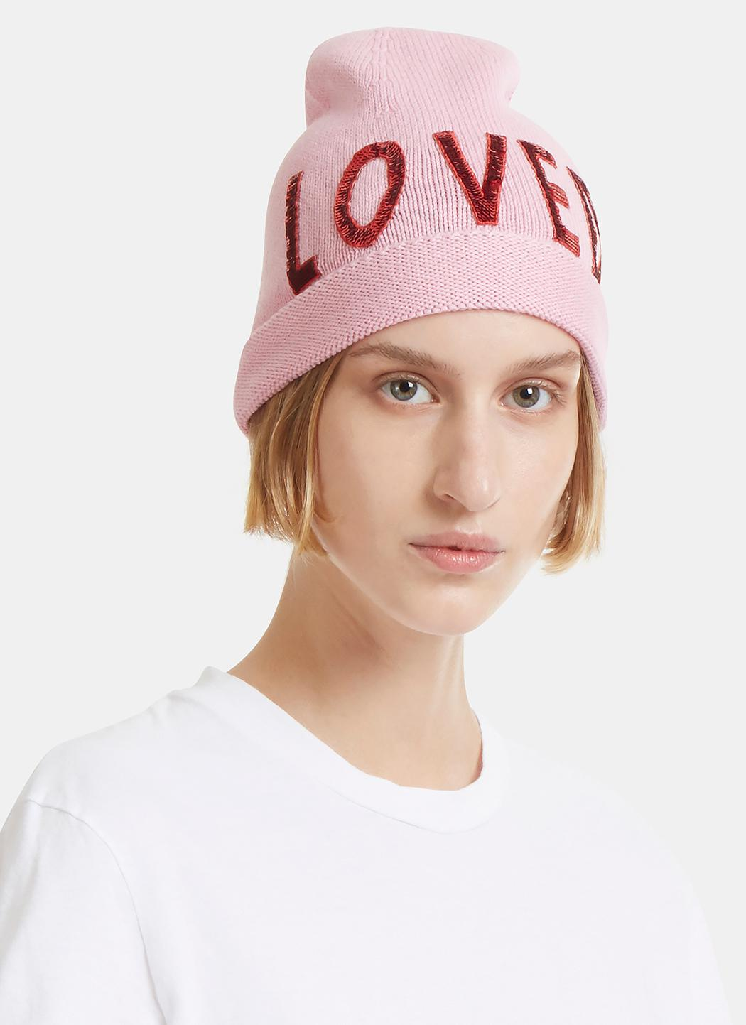 645fd4f858e22 Gucci Sequin Embroidered Loved Knit Hat In Pink in Pink - Lyst