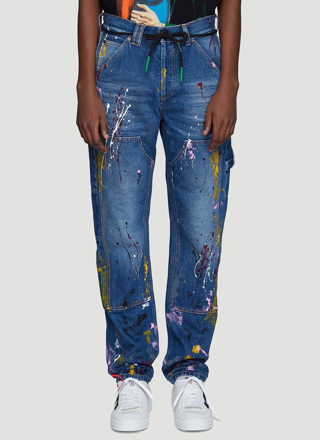 c193ab277e9 Lyst - Off-White c o Virgil Abloh Carpenter Splatter Jeans In Blue ...