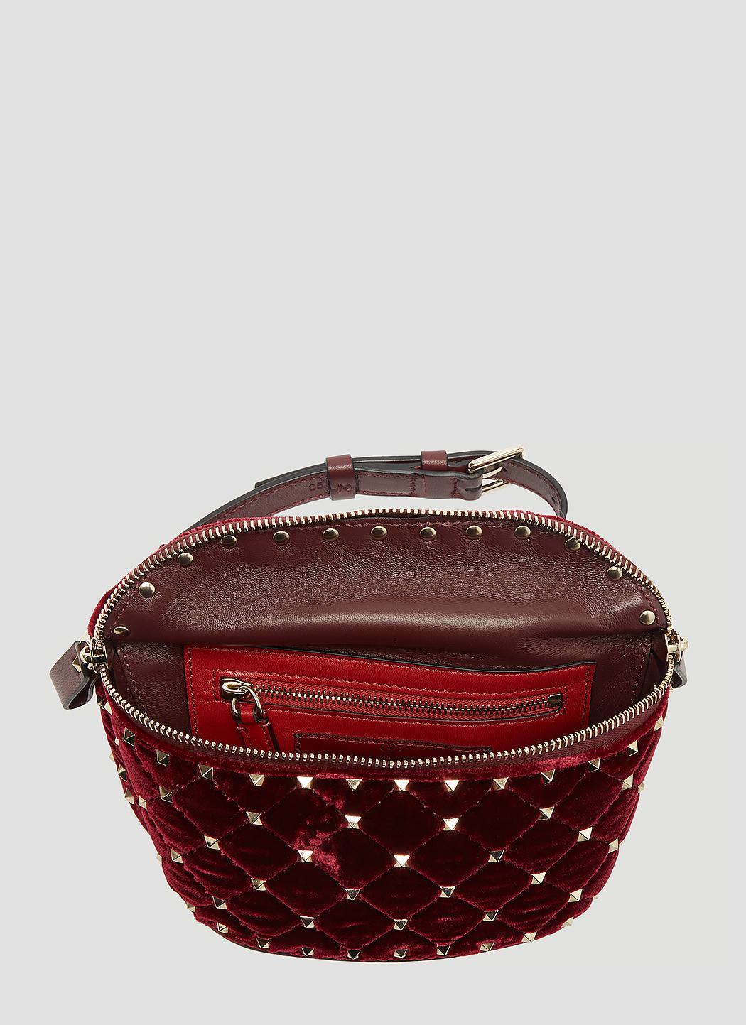 5ff286af5 Valentino Rockstud Spike Velvet Belt Bag In Burgundy - Lyst