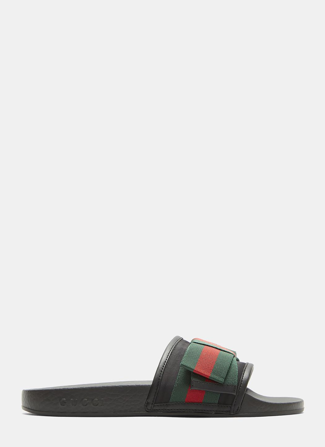 Gucci Satin Web Bow Slip-On Sandals o2txW4