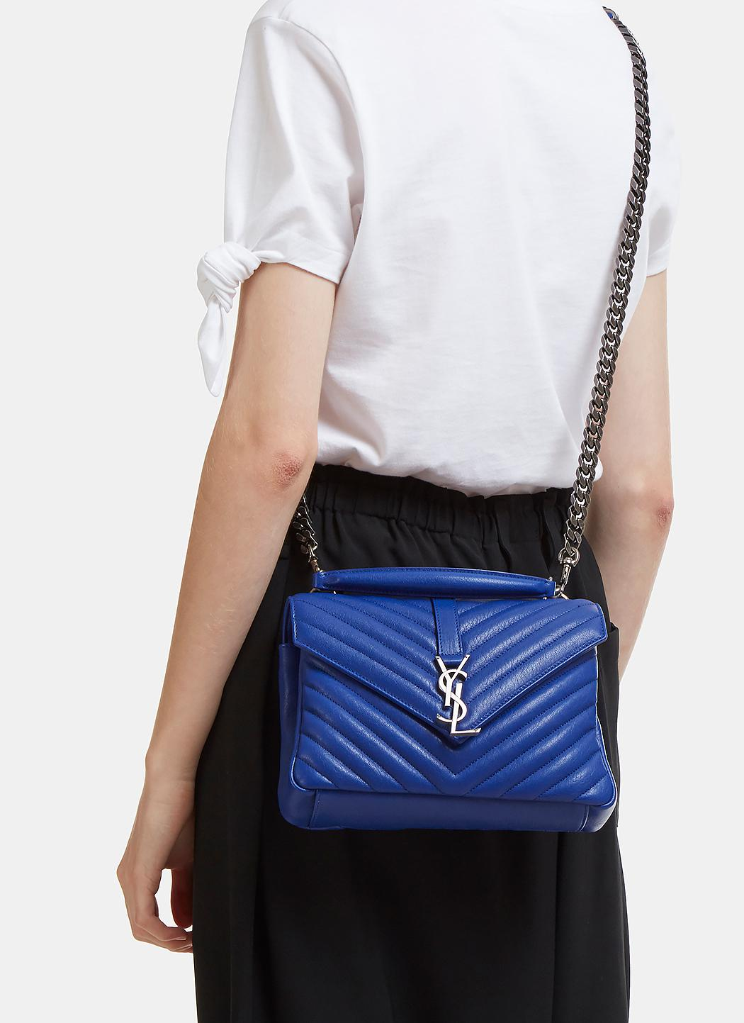 Lyst - Saint Laurent Medium Quilted College Bag In Blue in Blue 141e2bb60e97b