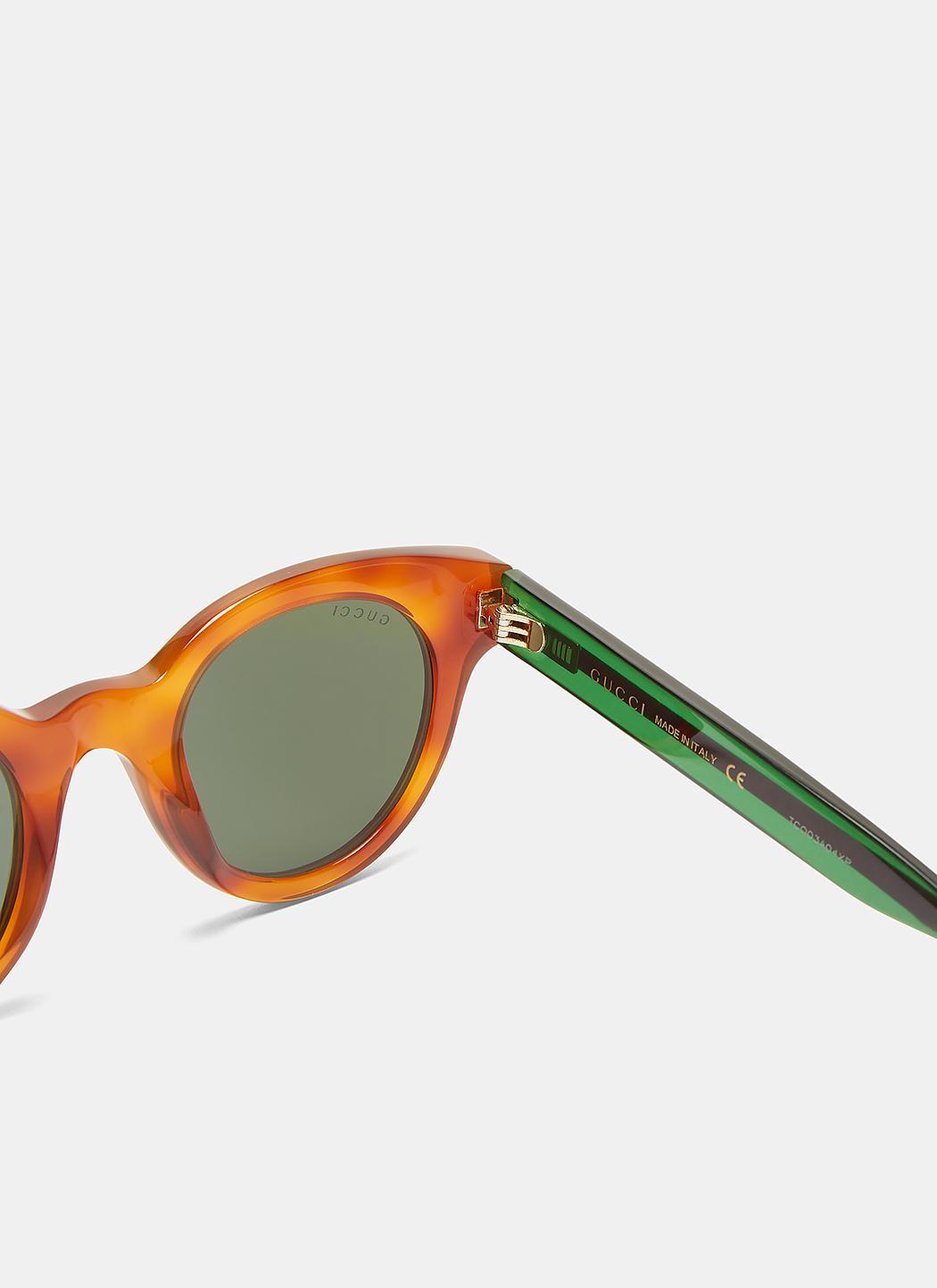 4411d763dc6 Lyst - Gucci Men s Tortoiseshell Striped Arm Round Sunglasses In ...