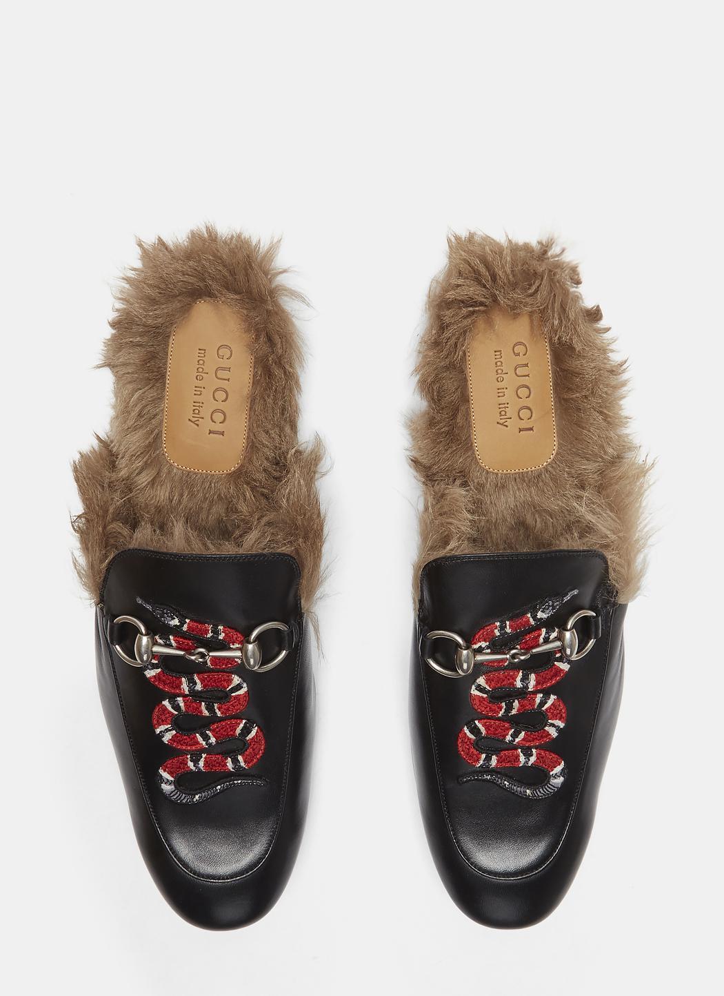 494f620ac Gucci Princetown Kingsnake Slipper Shoes In Black in Black for Men ...