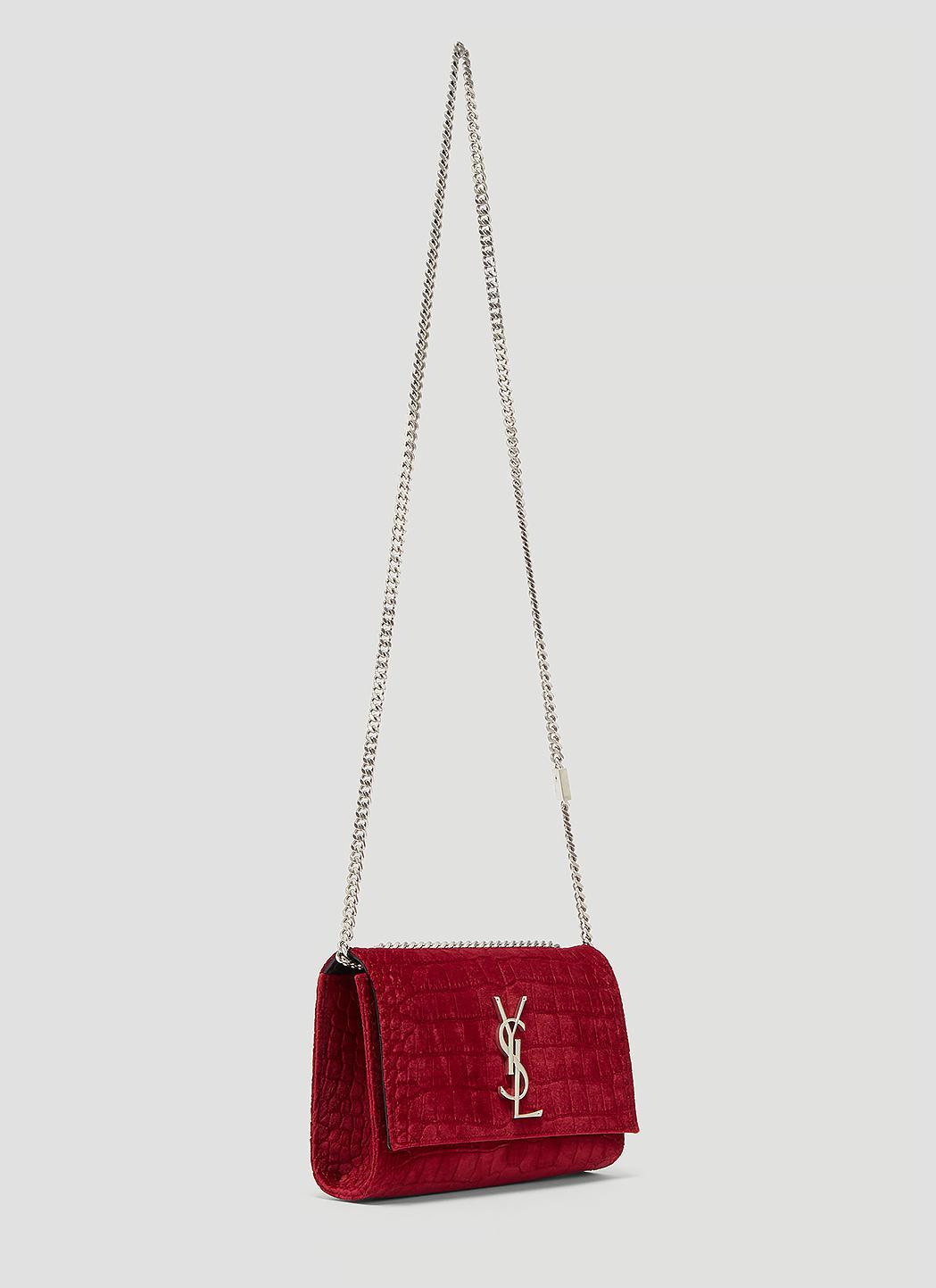 a8597182783e Lyst - Saint Laurent Small Velvet Snakeskin Kate Bag In Red in Red