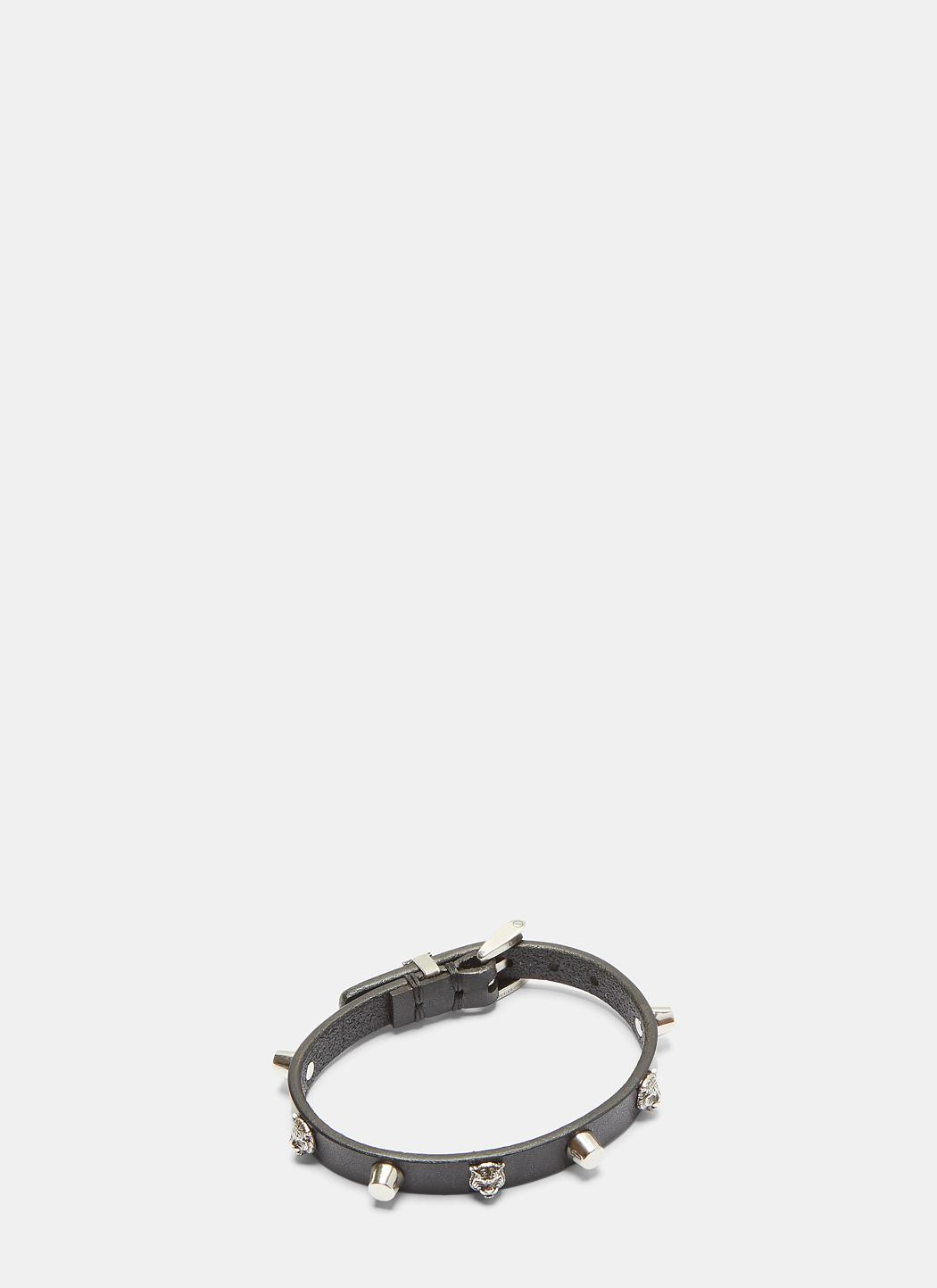 Gucci Feline Head Studded Leather Bracelet DODkcF