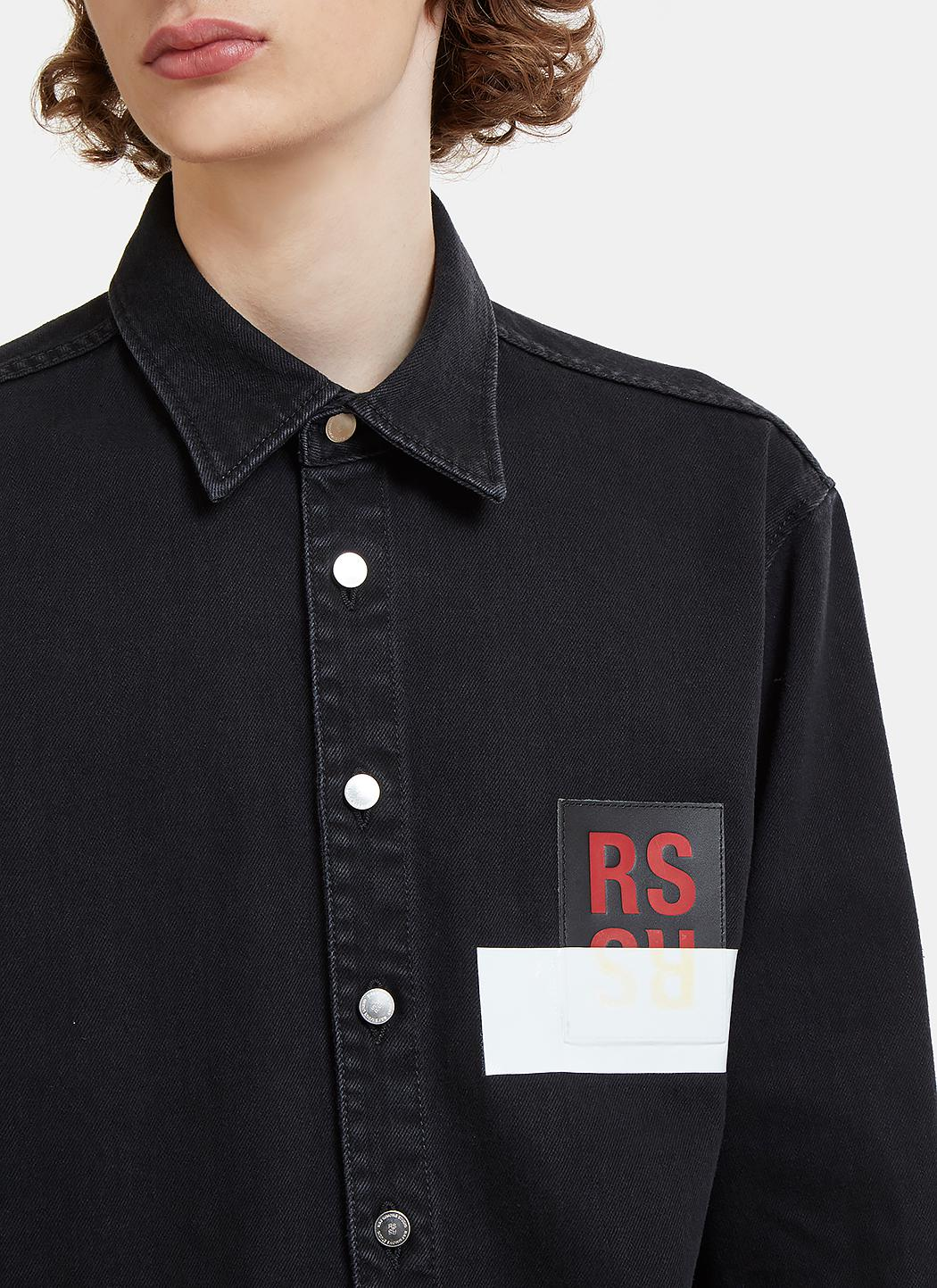 b684c953b92 Lyst - Raf Simons Rs Leather Patch Denim Shirt In Black in Black for Men