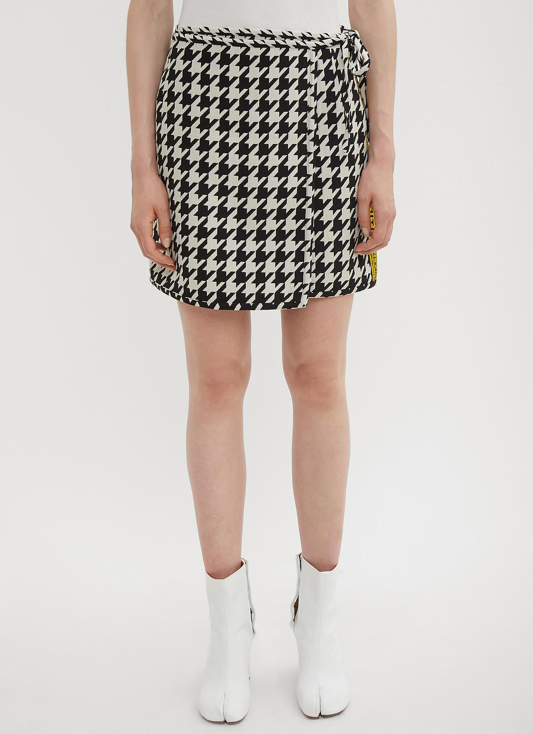 bb98adfce281 Lyst - Off-White c o Virgil Abloh Pied De Poule Mini Skirt In Black ...