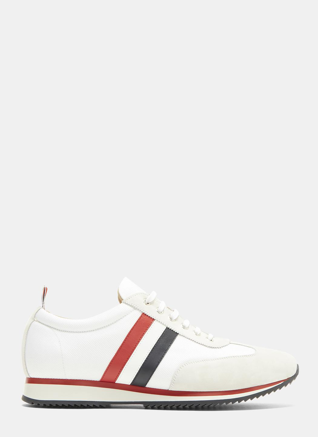 Striped Suede And Leather Sneakers Thom Browne KoNc2Aqf