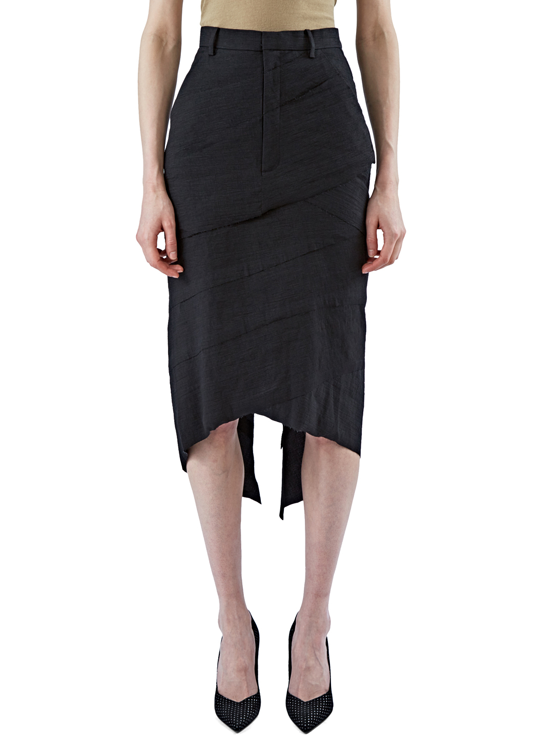 aganovich s asymmetric layered pencil skirt in black