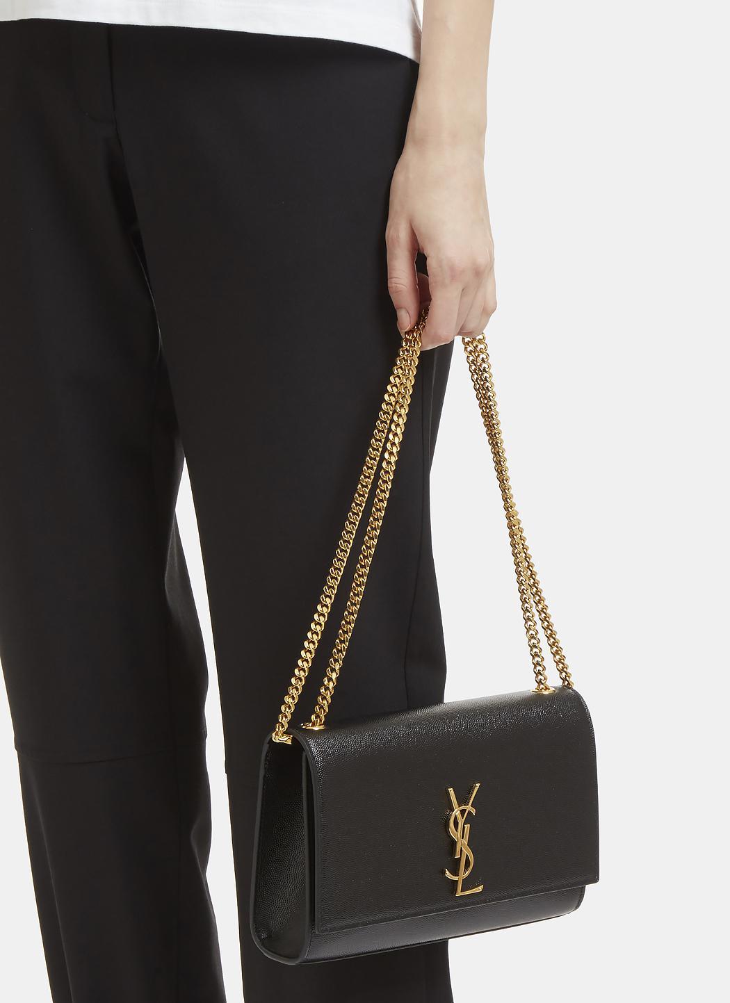 1984ad334a7 Lyst - Saint Laurent Medium Kate Grain De Poudre Chain Bag In Black ...