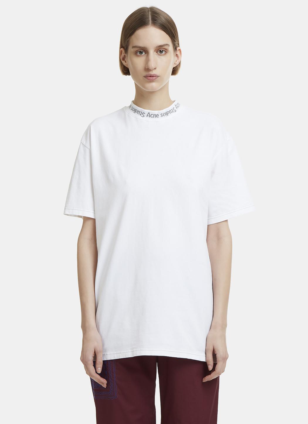Lyst Acne Gojina Logo Collar Cotton T Shirt In White In