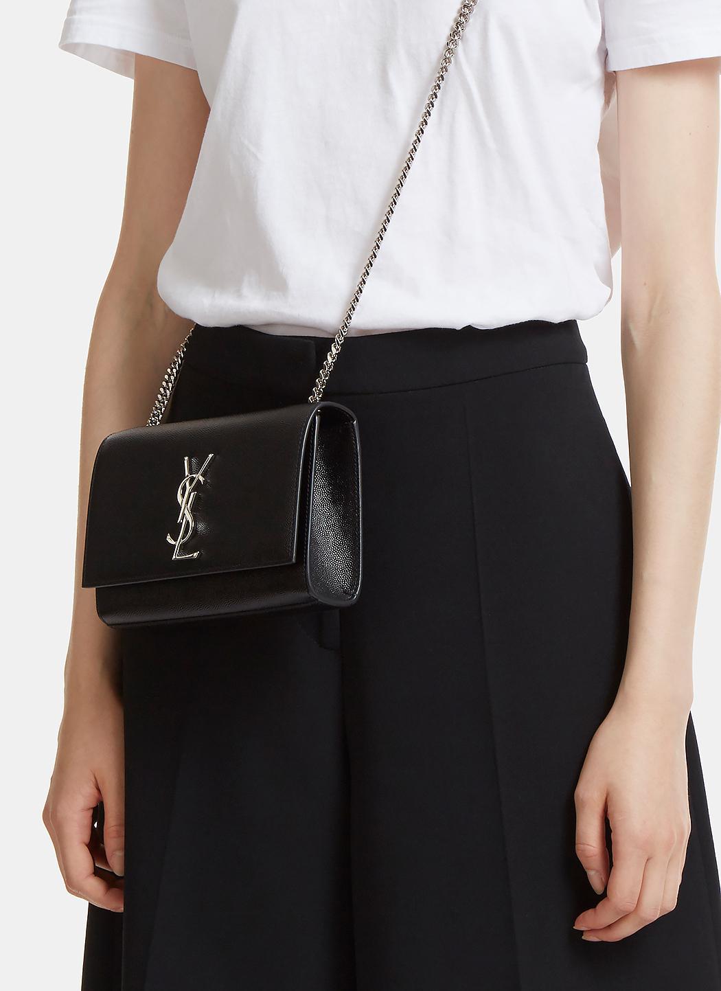 9ee6dc7f4b Saint Laurent Small Kate Grain De Poudre Chain Bag In Black in Black ...
